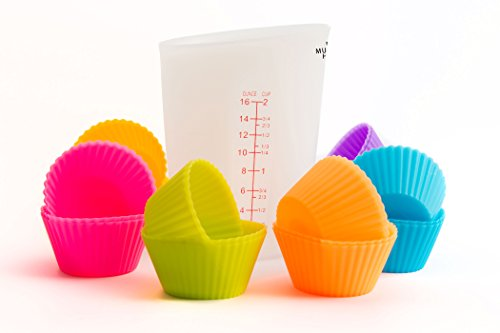 U Must Have - 24 Eco-friendly Silicone Cupcake Liners (Reusable, Non-Stick). Baking Cups, Molds for Muffins and 1 Unbreakable Silicone Measuring Cup (500 Milliliter): Baking Accessories for Cupcakes
