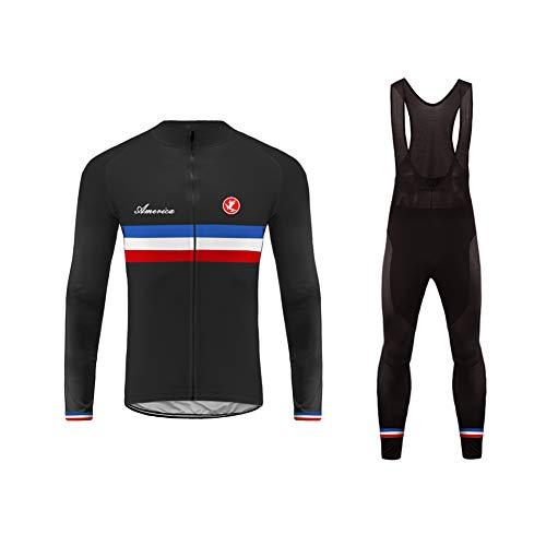 Uglyfrog Mens Cycling Clothes Long Sleeve Cycle Tops, Mountain Bike/MTB Shirt+Long Bib Pant, Reflective Biking Bicycle Kit, Great Cyclist Gifts -High Visible and Quick Dry