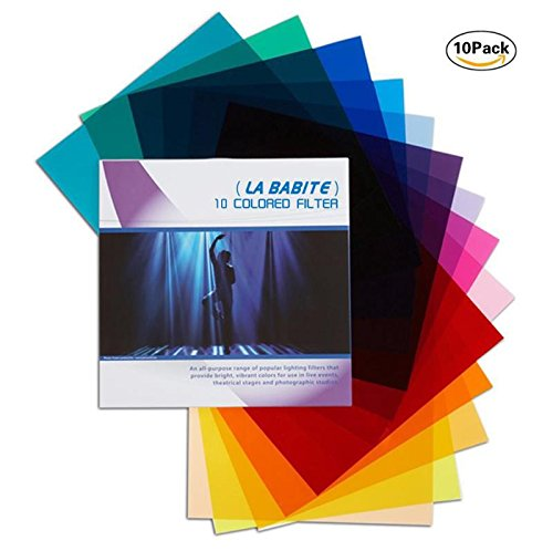 La Babite 11 x 8.7-Inches Pack of 10 Colored Overlays Transparency Color Film Plastic Sheets Correction Gel Light Filter ()