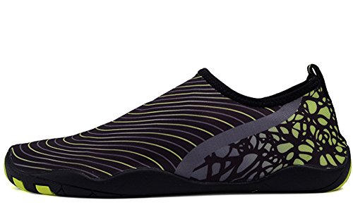 YIRUIYA Women Barefoot Quick-Dry Aqua Socks Water Shoes With Drainage Holes Black-green qbLCE