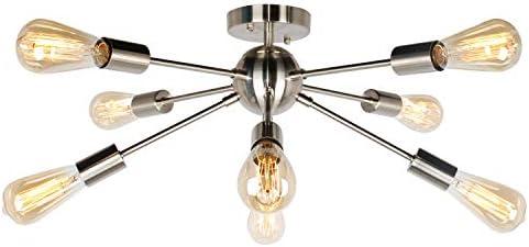 JHLBYL Sputnik Chandelier 8-Light Silver Modern Chandelier Fixture Classic Mid Century Semi Flush Mount Ceiling Light for Bedroom Living Room Dining Room Foyers