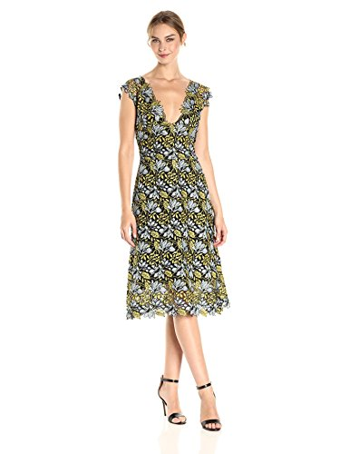 Cynthia Rowley Women's Floral Lace Midi Dress Citron Multi 6 from Cynthia Rowley