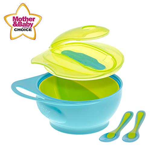 Brother Max Baby Feeding Bowl with Lid Set, Baby Divided Bowl with Spoon, Easy-Hold Handle for Baby Self Feeding, BPA Free (Blue/Green)