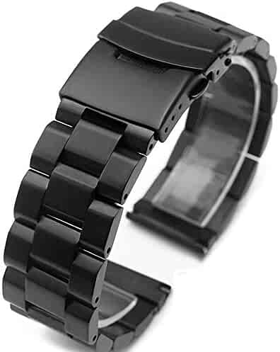 Black Stainless Steel Watch Bands Brushed Finish Watch Strap 18mm/20mm/22mm/24mm Double Buckle Bracelet (22mm)