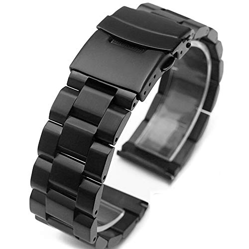 b1b7cefbb04 Silver Black Stainless Steel Watch Bands Brushed Finish Watch Strap  18mm 20mm 22mm