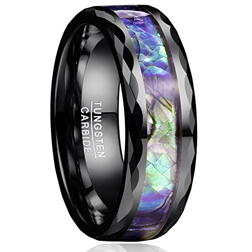(VAKKI Classic Unisex 8mm Abalone Shell Inlay Black Faceted Promise Rings for Men Polished Edge Size 11)