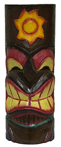 - World Shells Hand Carved Hand Painted 10 Inch Large Tiki Totem Pole - Sun