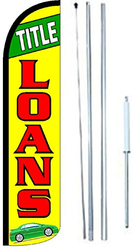 Title Loans King Windless Flag Sign With Complete Hybrid Pole Set