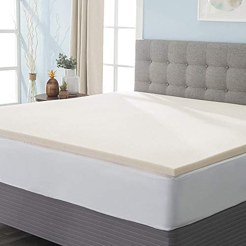 eLuxurySupply 2 Inch Copper Infused Memory Foam Mattress Topper - Naturally Temperature Regulating Copper Mattress Pad - 2 lb Density for High Support and High Response - Made in The USA - Queen Size