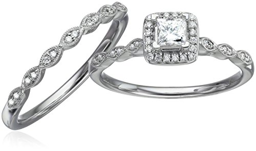 IGI Certified 14k White Gold Diamond Vintage Halo with Millgrain and Princess Cut Center Wedding Ring Set (1/2cttw, H I Color, I1 I2 Clarity)