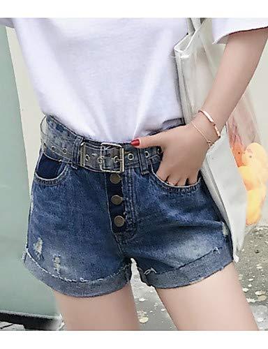 YFLTZ Femmes Pantalon Couleur Unie Jeans Blue rqg8xrO