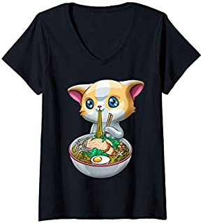 Womens Cute Ramen Cat  Kawaii Anime Kitten Japanese Ramen Gift V-Neck T-shirt | Size S - 5XL