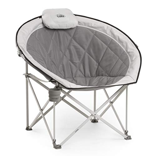 CORE 40025 Equipment Folding Oversized Padded Moon Round Saucer Chair with Carry Bag, Gray in USA