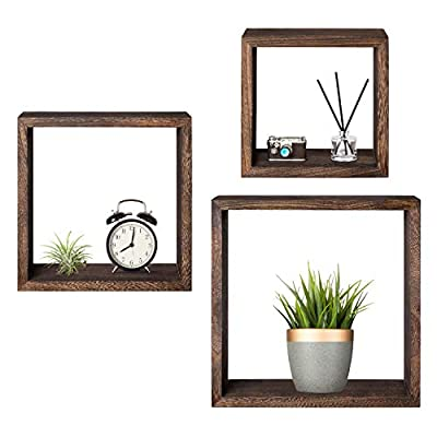 Mkono Wall Mounted Cube Display Shelf Square Floating Shelves Rustic Shadow Wall Boxes Decorative Storage Organizer for Home Office Coffee Shop, Set of 3, Brown - 3 Set Floating shelves -12 inch/10 inch and 8 inch wood wall squareshelf display charming showpieces, potted plant,decorative items, and other prized possessions while offering functional storage . Enhance décor and fill in empty wall space above a desk, fireplace, entryway, vanity, between windows, and more Vintage and Rustic: Square frame shape with espresso color surface looks rustic in country style, as an unique wall art to stylish home. Also it suitable for using at office, studio, or coffee shop, adds modern flair or minimalist. Decorative props are not included in this item! Set of 3 Shelves: This set includes three different sized opening shelf in small, medium, and large for flexible using and free grouping. To hang together or separately on the wall, prefect for bedroom, living room, dinning room, kitchen, bathroom and more. - wall-shelves, living-room-furniture, living-room - 41oMw4nF54L. SS400  -