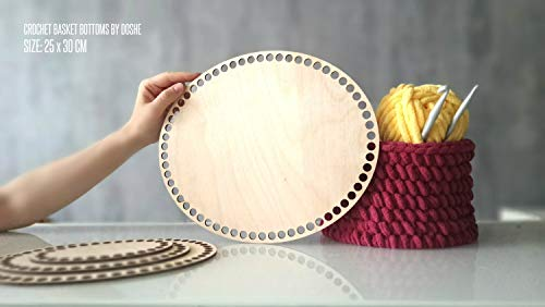 - DASON Oval Crochet Basket Wood Bases Laser Cut Wood