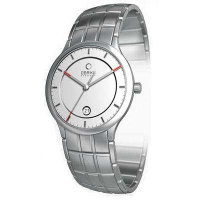 Obaku Harmony Mens Titan Glass Watch - Silver Band / White Face - V101GCASCS-016