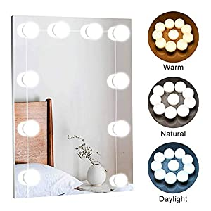 Vanity Lights for Mirror – Hollywood Style LED Vanity Mirror Lights Kit with Dimmable Light Bulbs for Makeup Dressing Table Mirror and USB Power Supply Plug in Lighting Fixture Strip, 10 Bulbs