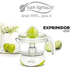 San Ignacio, Exprimidor eléctrico para naranjas y cítricos de 40W, Jarra para zumo de 700 ml, piezas aptas para lavavajillas, giro bidireccional