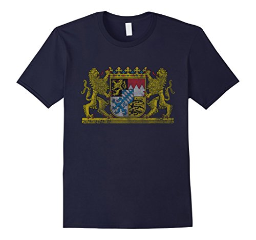 mens-vintage-bavaria-coat-of-arms-germany-t-shirt-xl-navy