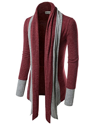 TheLees (NKCD94) Open Front Double Shawl Collar Cardigan Sweaters WINE US XS(Tag size XS)