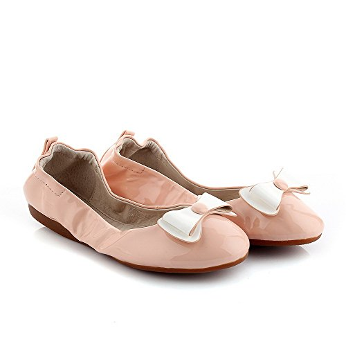 Color Heel Patent Pink Pull on Closed Women's Shoes Assorted No Round Toe Leather WeenFashion Flats nxwP65
