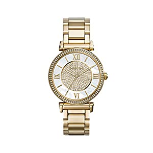 Michael Kors Goldtone CATLIN Watch with Mother-of-Pearl Dial & Pave Detail