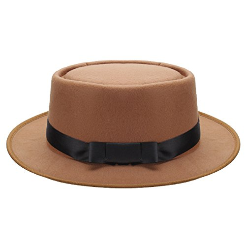 Vintage Mens Wool Felt Crushable Porkpie Round Hat Cap Bowler , New Intrend