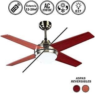 Ventilador de techo con luz Cuero/Cerezo-Nogal Serie Eolo: Amazon.es: Hogar