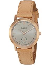 Bulova Womens Quartz Stainless Steel and Leather Casual Watch, Color:Brown (Model: 97L146)