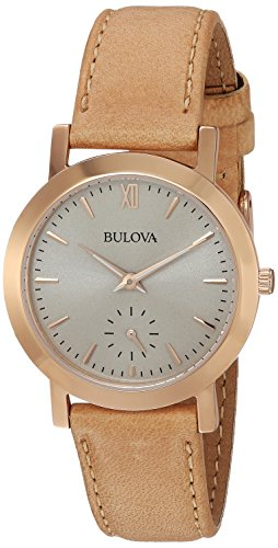 - Bulova Women's Quartz Stainless Steel and Leather Casual Watch, Color:Brown (Model: 97L146)