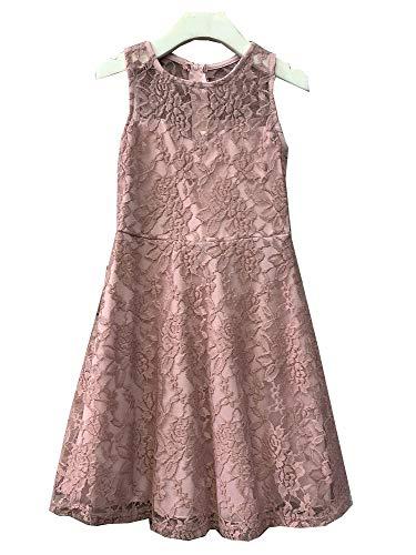 Petite Adele Big Girls Dusty Rose Sweet Lace Sleeveless Easter Dress 8 ()