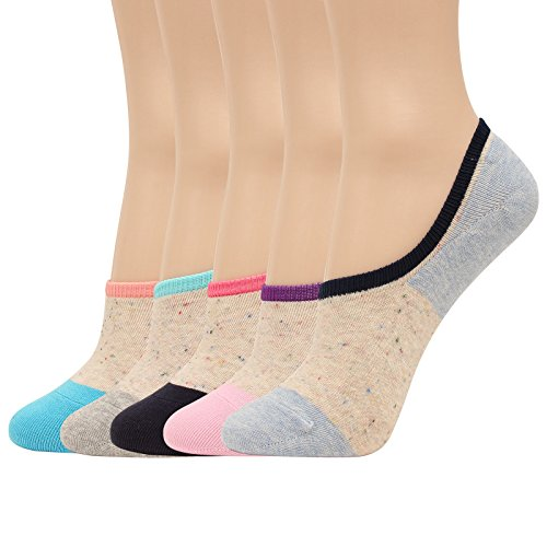 WOWFOOT Women 3 To 8 Pack Thin No Show Socks Low Cut Liner Cotton Non Slip Flat Boat Line (5 pair - Fancy) - Fancy Slip