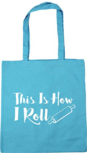 HippoWarehouse This Is How I Roll Tote Shopping Gym Beach Bag 42cm x38cm, 10 litres Surf Blue