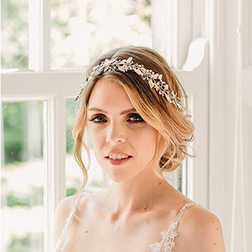 SWEETV Rose Gold Wedding Heaband Bohemian Headpiece Crystal Pearl Hair Vine Flower Halo Bridal Hair Accessories