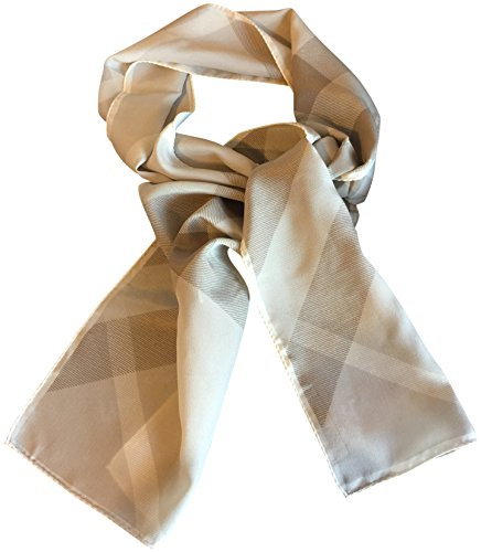 Burberry 100% Silk Scarf Long Checkered Beige Ivory