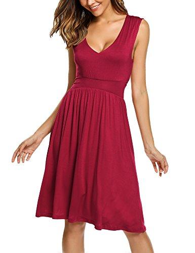 - Zeagoo Women's Wrap Empire Waist Summer Sleeveless Dress,Wine Red,X-Large