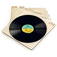 """TunePhonik Vertical Laser Cut Wooden Record Dividers to Organize Vinyl LPs up to 12""""   Includes Six Dividers"""