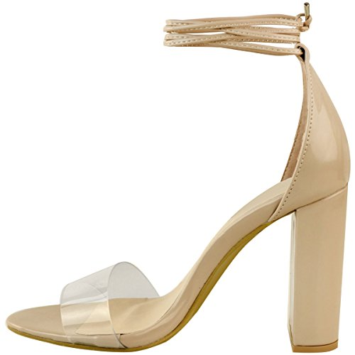 Thirsty Hauts Lacet Verni Femme Plexiglas Talons Fashion à Transparent Légère Sandales Couleur Chair Et Larges dwpvqI