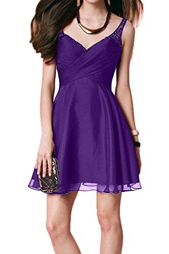 Violett Rueckenfrei Ausschnitt Perlen Promkleid Zaertlich Damen Ivydressing Kurz V Festkleid Partykleid Abendkleid qw6PfB