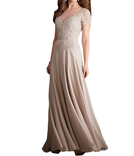Mr.ace Homme 2017 Long Chiffon Lace Mother Of The Bride Dresses With Short Cap Sleeves M0253 at Amazon Womens Clothing store: