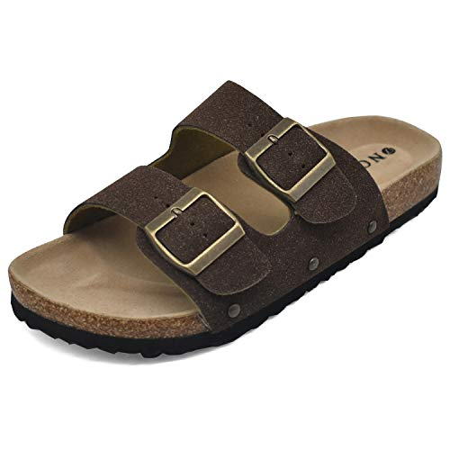 Women's Flat Slide Sandals with Arch Support 2 Strap Adjustable Buckle Slip on Slides Shoes Non Slip Rubber Sole Brown