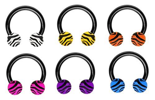 (6 pc White blue pink purple yellow orange zebra Black Horseshoe lip belly nipple eyebrow septum hoop ring 14g 3/8