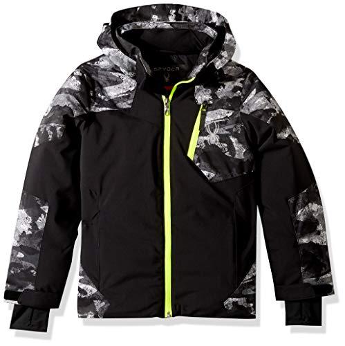 Spyder Boys' Chambers Ski Jacket, Black/Camo Distress Print/Bryte Yellow, Size 10