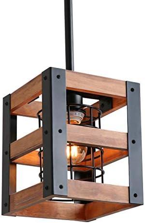 Eumyviv Cube Wood Metal Chandelier Net Cage Pendant Lighting for Kitchen Island, Rustic Industrial Edison Hanging Light Vintage Ceiling Light Fixture 1-Light P0015