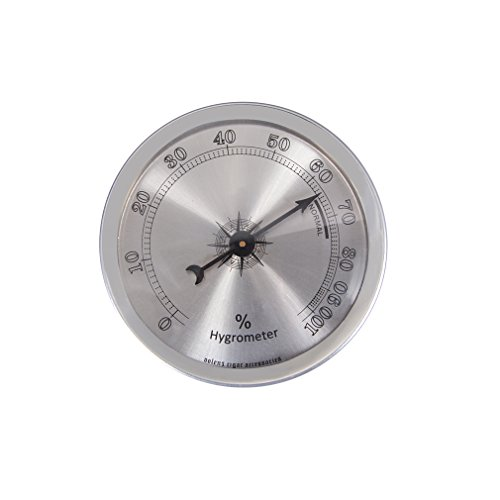Analog Hygrometer, Round Cigar Hygrometer with +/- 1% Accuracy for Indoor and Outdoor(Silver)