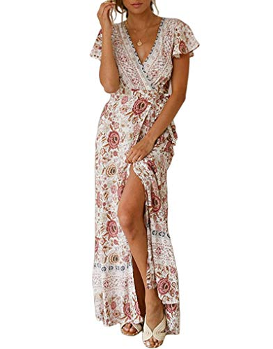 Exlura Women's Summer Boho Floral Printed V-Neck Faux Wrap Short Sleeve Split Maxi Dress with Belt White