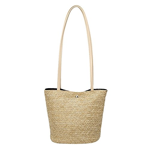 Brown Crossbody Messenger Shoulder Bucket Robemon Bag Handbag Fashion Women Satchel Straw Casual twxP7xqC