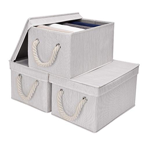 StorageWorks Storage Bins with Lids, Decorative Storage Boxes with Lids and Cotton Rope Handles, Mixing of Beige, White & Ivory, Large, 3-Pack (Decorative Boxes For Storage)
