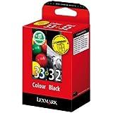 Lexmark Pack Cartouche d'encre d'origine 32 (Noir) + 33 (Cyan, Magenta, Jaune)