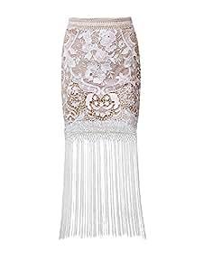 Lovers Gifts Tassel Hem Lace Slim Long Skirt White 4776562J07V25215085 Size S